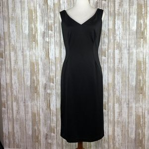 Bebe Sexy Fitted Stretchy Satin V-Neck Dress Sz L